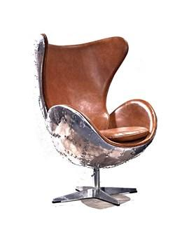 Aluminum And Leather Egg Chair